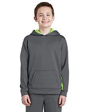 Sport-Tek® YST235 Boys Fleece Colorblock Hooded Pullover at GotApparel