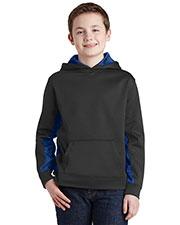 Sport-Tek® YST239 Boys Camohex Fleece Colorblock Hooded Pullover at GotApparel
