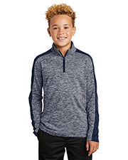 Sport-Tek YST397 Youth 4.1 oz PosiCharge Electric Heather Colorblock 1/4-Zip Pullover at GotApparel