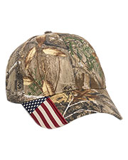 Outdoor Cap CWF-305  Structured Camo Hat With Us Flag Visor Insert at GotApparel