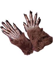 Halloween Costumes FW8274BR Unisex Gloves Werewolf Brown at GotApparel