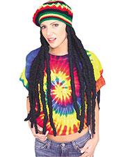 Halloween Costumes RU51178 Unisex Rasta Wig With Cap at GotApparel