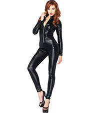 Halloween Costumes UA85047MD Women Catsuit Wet Look Zipper Front at GotApparel